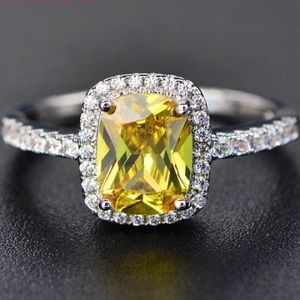 Citrine Rectangular Diamond Halo Silver Ring